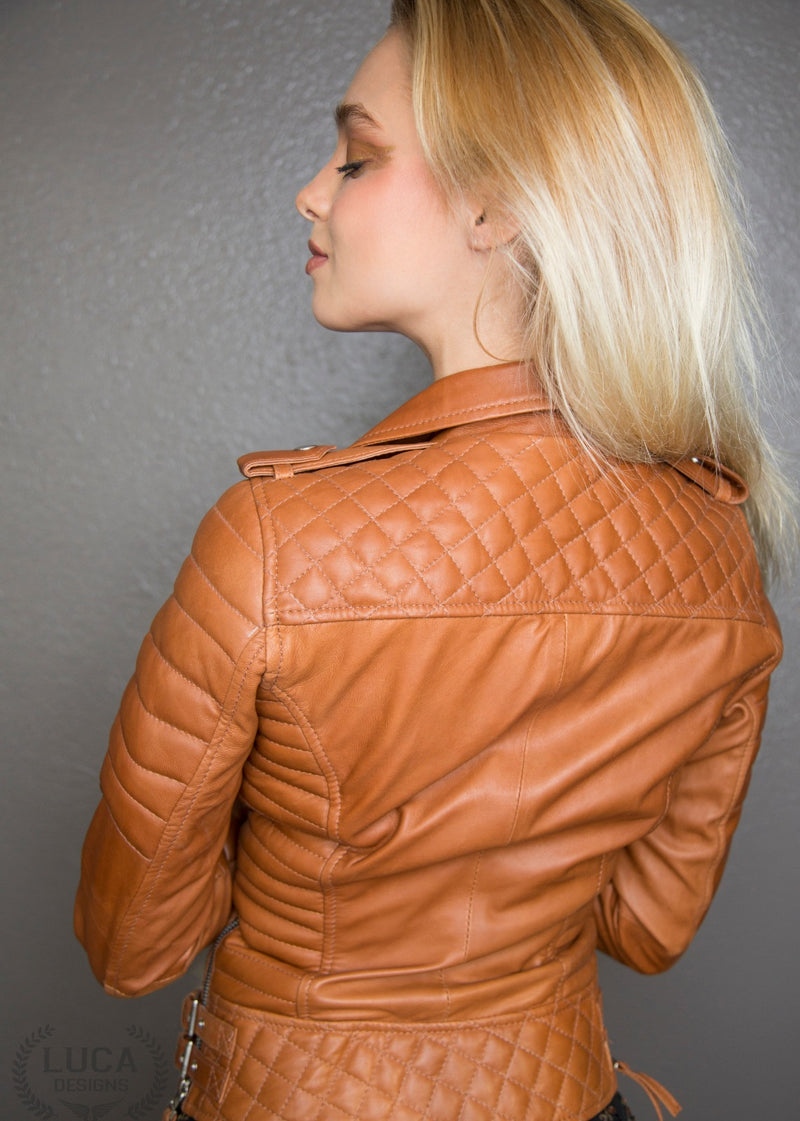 Womens Quilted Leather Motorcycle Jacket Brown