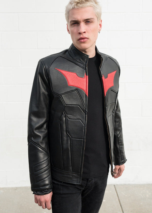 Red Bat Embossed Batman Leather Motorcycle Jacket