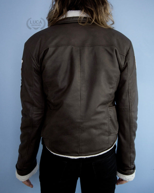 Mens Tracer Jacket Brown Leather White Fur Lining