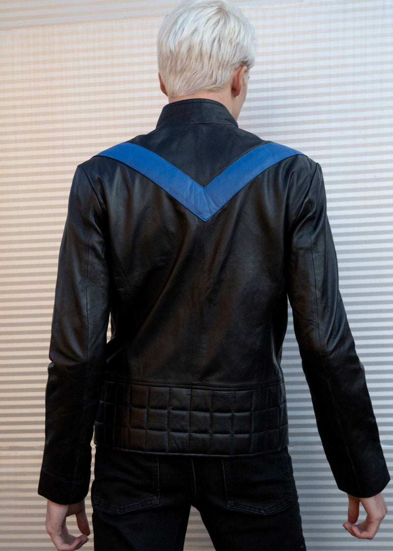 Mens Dick Grayson Nightwing Black Leather Jacket Eagle