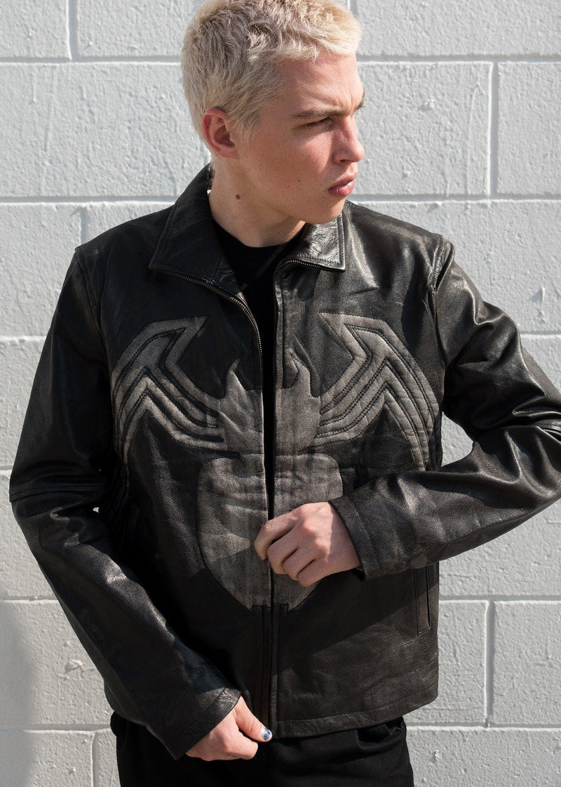 Mens Venom Spiderman Leather Jacket Black
