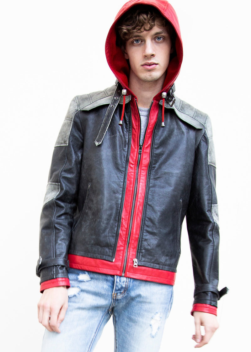 Mens Jason Todd Red Hood Leather Jacket
