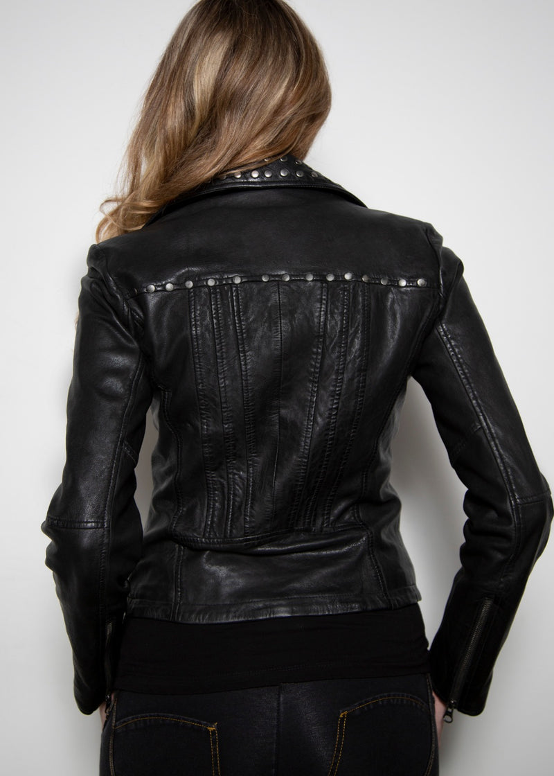 Womens Studded Collar Black Fashion Organic Leather Vegan Jacket