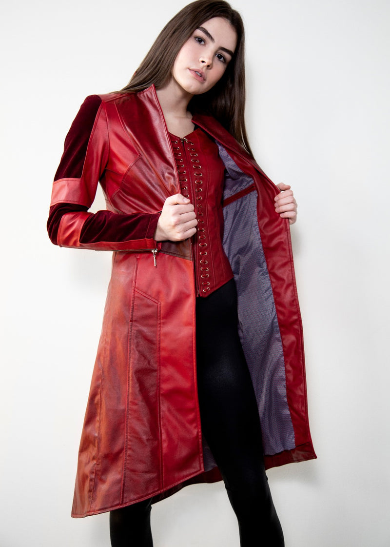 Womens Scarlet Witch Red Leather Trench Coat