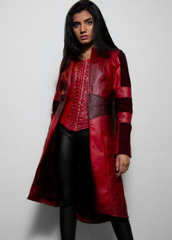 Womens Scarlet Witch Red Leather Trench Coat Corset Top