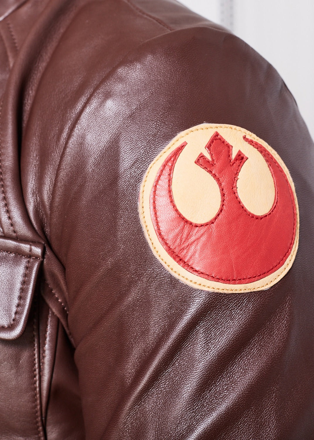 Mens Rebel Poe Dameron Rebel Alliance Leather Jacket Brown
