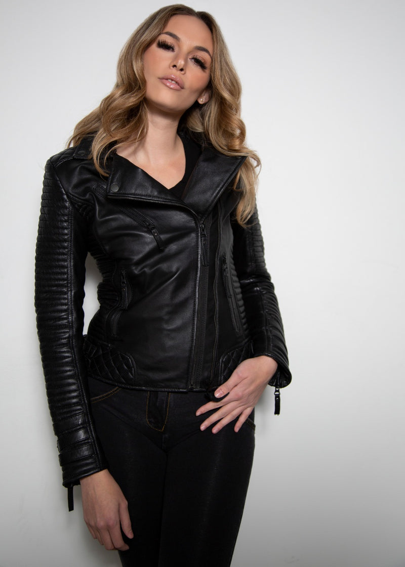 Womens Quilted Motorcycle Biker Leather Jacket Black Fall