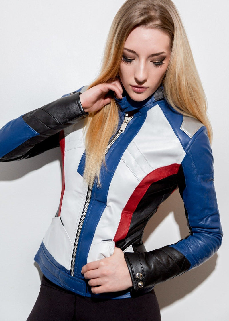 Women-76-Soldier-Leather-Blue-And-White-Jacket-buy