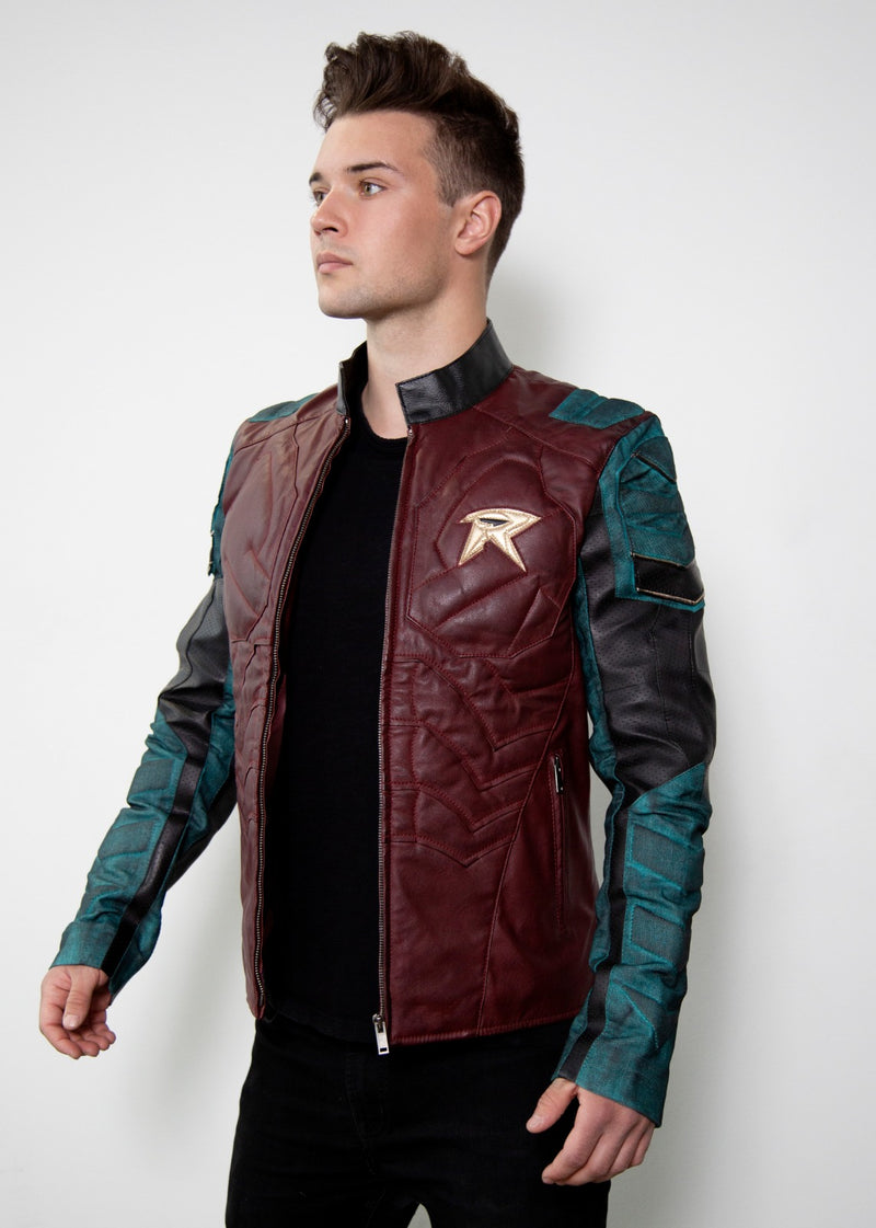 Mens batman robin armor red leather jacket cosplay