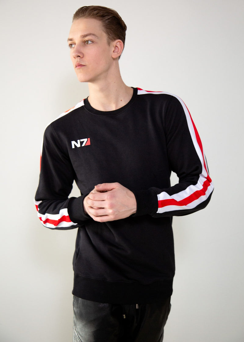 Mens Luca Designs Black N7 Mass Effect Sweater Shirt Jumper