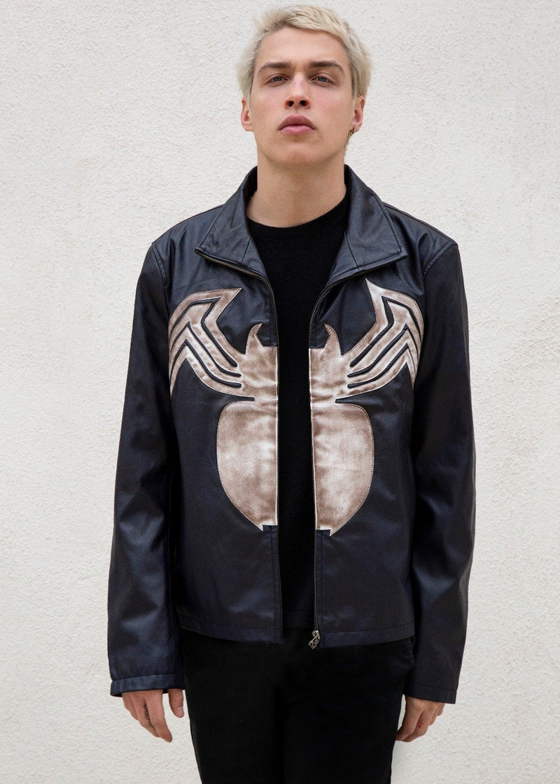 Mens Spiderman Venom Leather Jacket Blue Weathered Symbiote Carnage