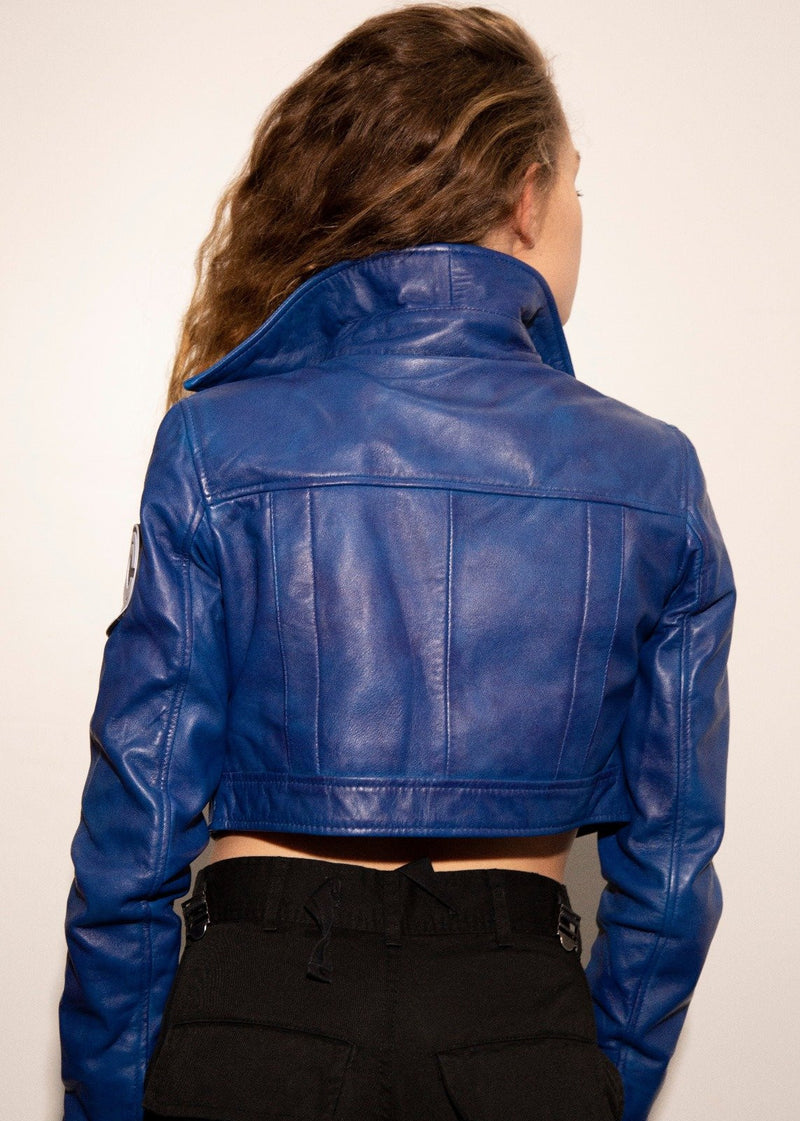 Womens Dragon Ball Z Trunks Leather Jacket Purple Blue