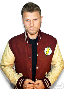 Mens Fastest Man Alive Leather and Wool Bomber Jacket