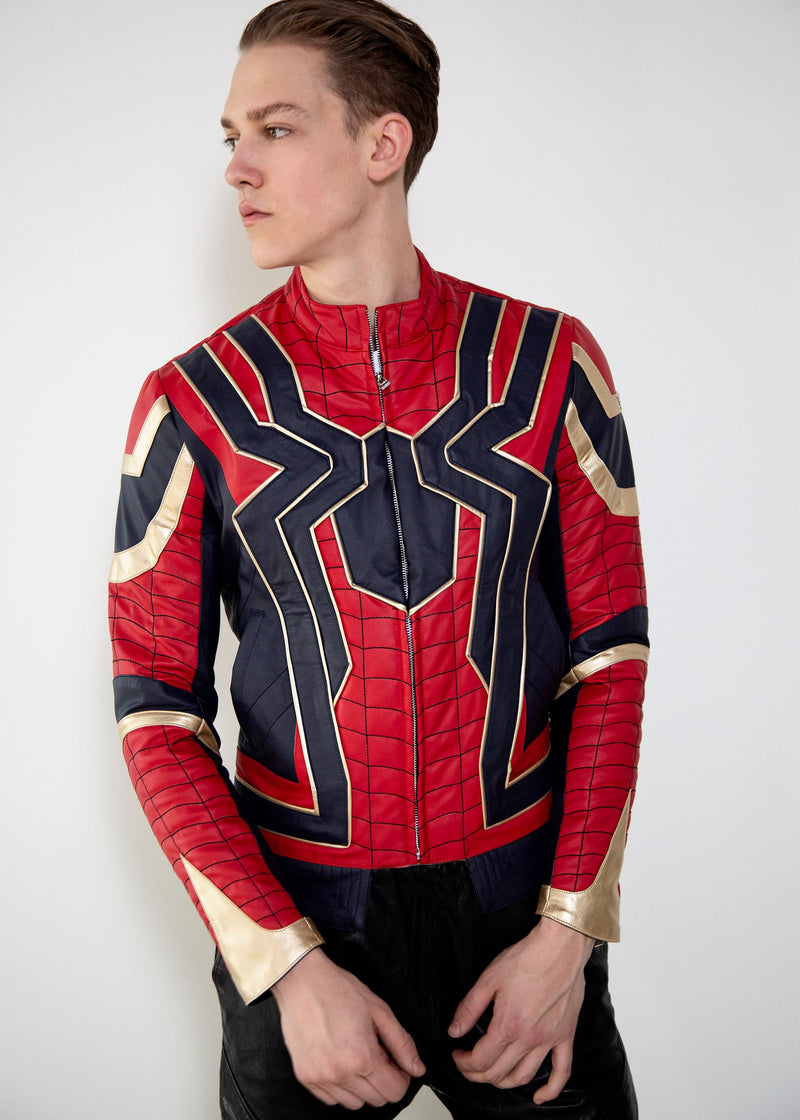 Mens Spider-Man Iron Spider Infinity War Leather Jacket