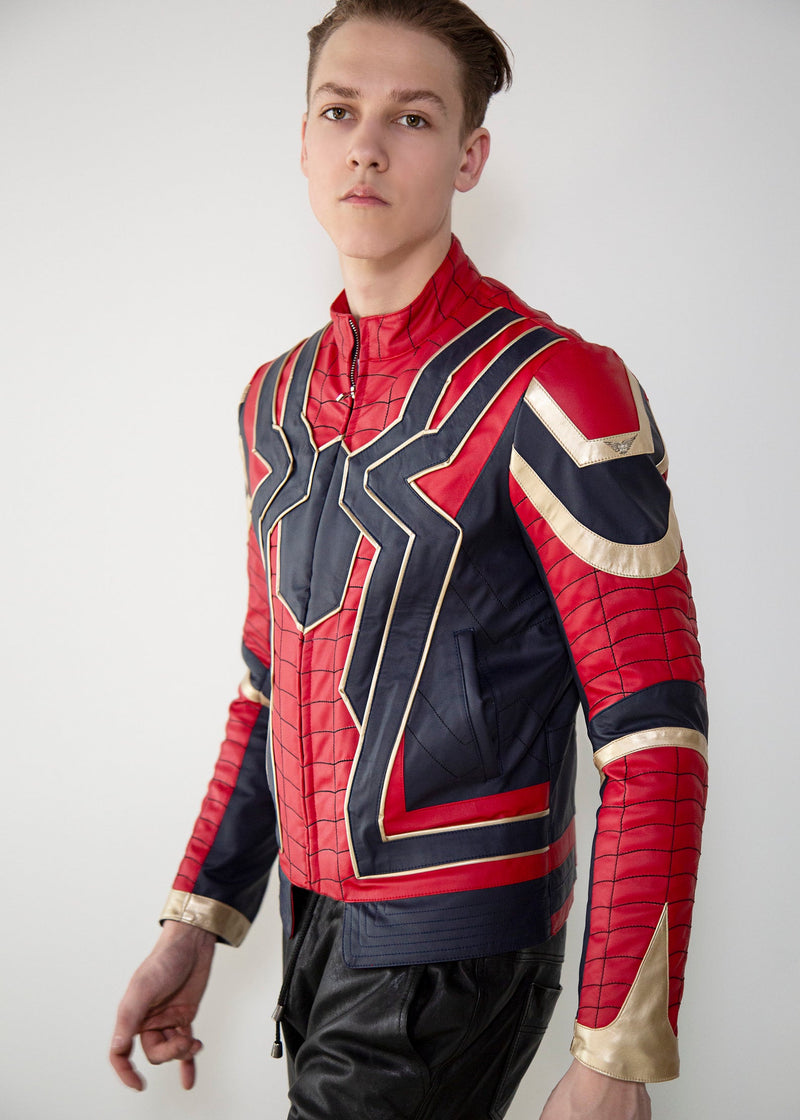 Mens Iron Spider End Game Red & Gold Leather Jacket