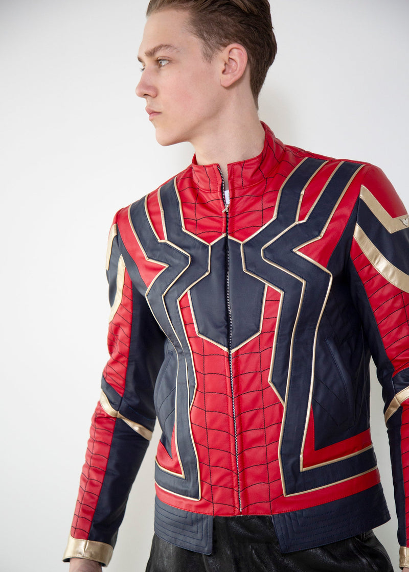 Mens Iron Spider Homecoming Tom Holland Leather Jacket