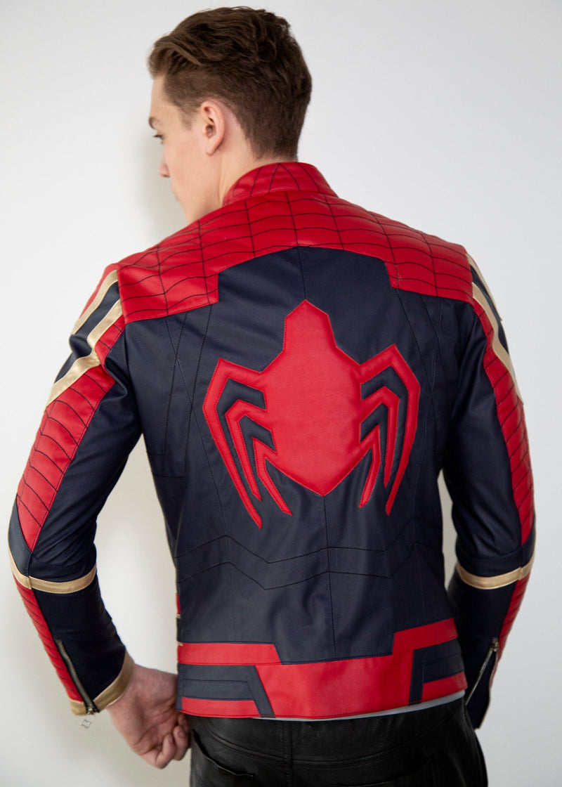 Mens Iron Spider Red, Black & Gold Avengers Leather Jacket