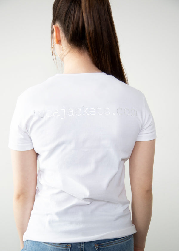 Womens Luca Designs White & Chrome Logo Graphic T-Shirt Back