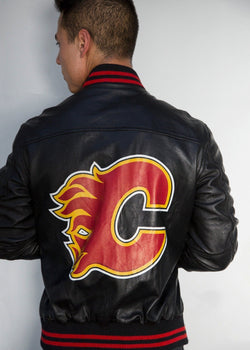 Mens Calgary Flames Hockey Bomber Leather Jacket