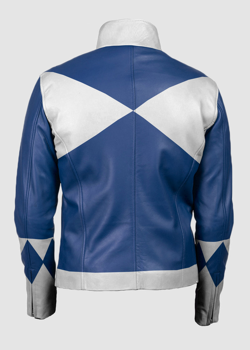 Mens Power Rangers Classic Leather Jacket Blue
