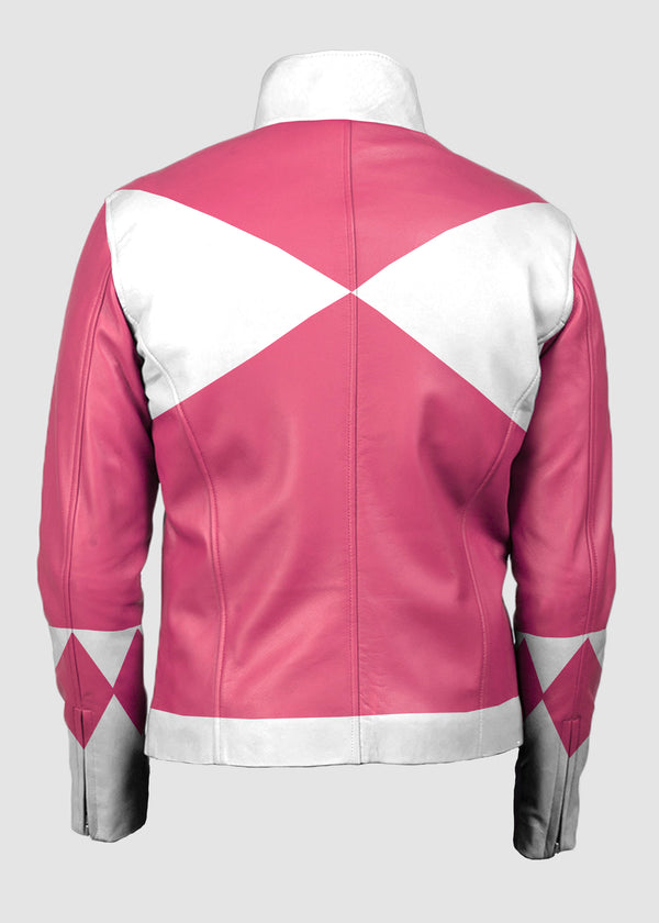 Womens Power Rangers Classic Leather Jacket Pink