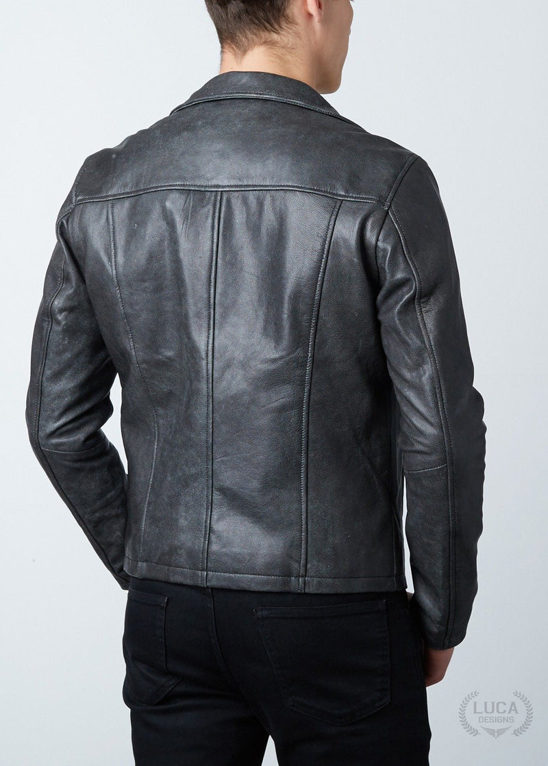 Mens Frank Castle Punisher Leather Jacket Skull Embossed