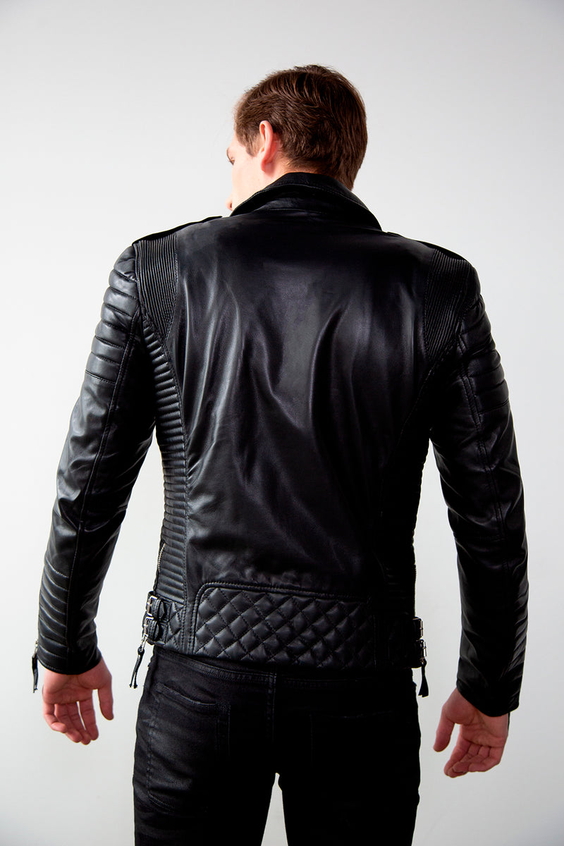 Mens Quilted Leather Motorcycle Jacket Black Back