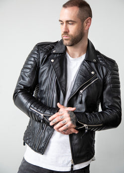 Mens Quilted Leather Motorcycle Jacket Black