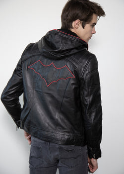 Redhood Arkham Knight Blackout Limited Edition Leather Jacket Bat Logo on Back