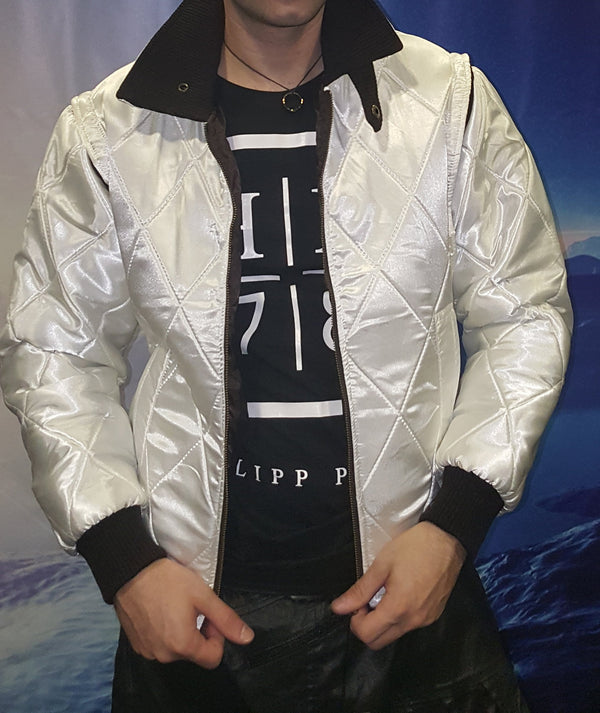 Mens Ryan Gosling Drive Scorpion Jacket White Satin