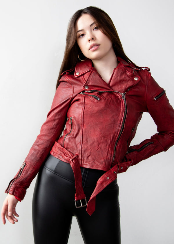 Womens Red Southside Serpents Riverdale Jacket Madelaine Petsch