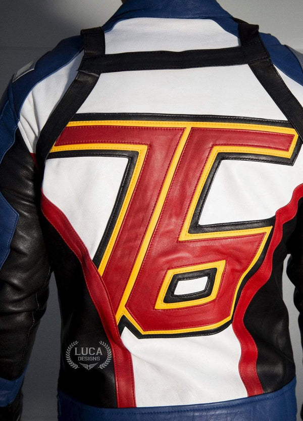 Mens Soldier 76 Leather Jacket Blue