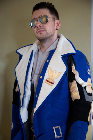 Mens Young Soldier 76 Trench Coat Leather Jacket