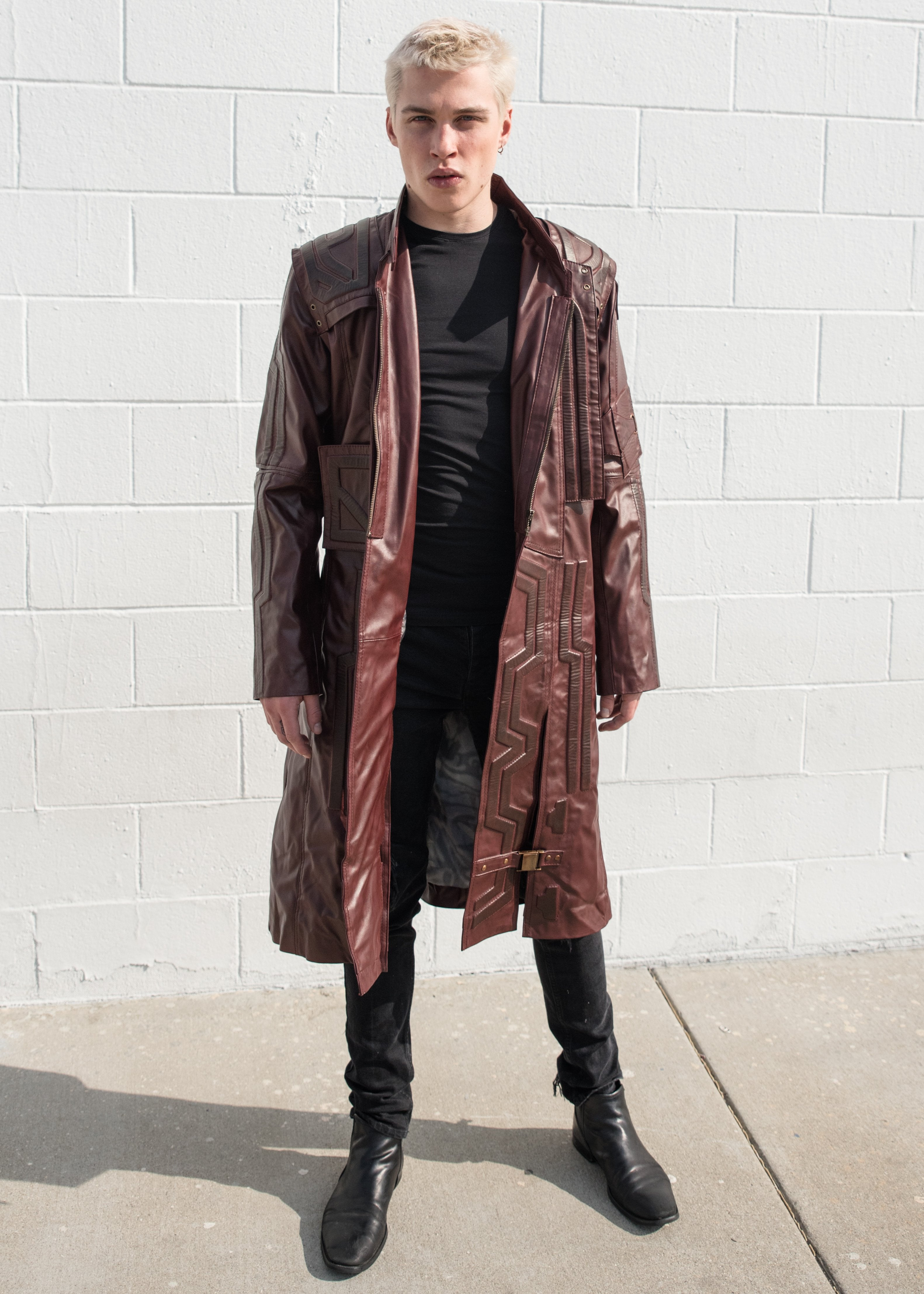 Mens Guardians of Galaxy 2 Star Lord Chris Pratt Leather Trench Coat