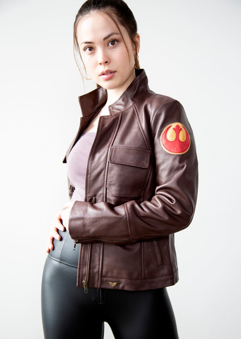 Womens Poe Dameron Rebel Alliance Brown Leather Jacket Starbird Insignia