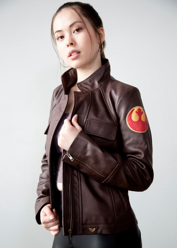 Womens Poe Dameron Rebel Alliance Brown Leather Jacket