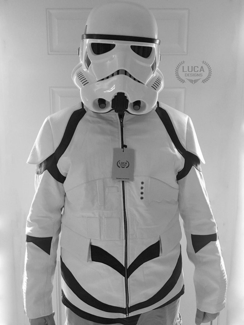 Mens Star Wars Stormtrooper Leather Jacket White Body Armor