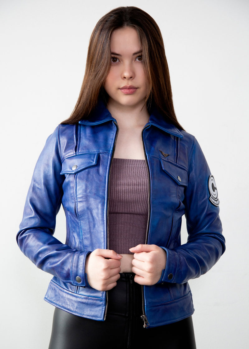 Womens Dragon Ball Z Trunks Capsule Corp Leather Jacket
