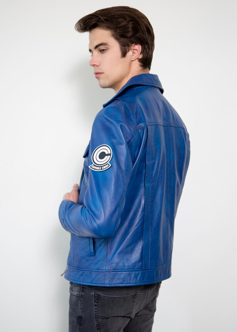 DBZ Future Trunks Leather Jacket Blue Back