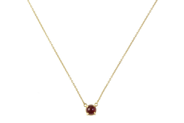 High Neck Garnet Pendant Gold