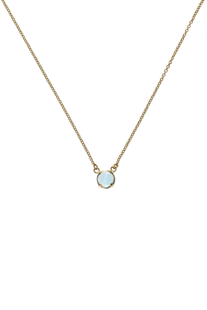 High Neck Swiss Blue Topaz Pendant Gold