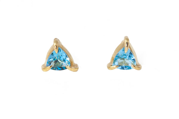 Mini Triangle Swiss Blue Topaz Stud Gold