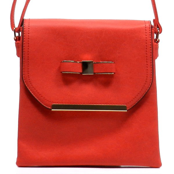Fashion Bow Flap Over Cross Body Bag [N0037-RED]