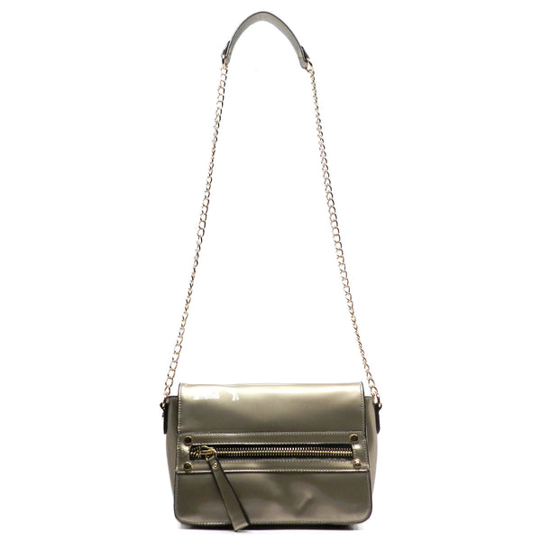 Glossy Flap Over Cross Body Satchel Bag [PT1009-PEWTER]