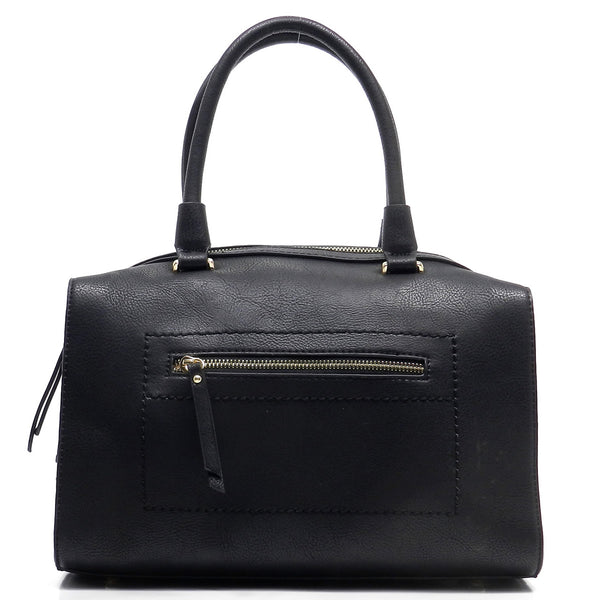 Front Zip Pocket Top Handle Tote [80901-BLACK]