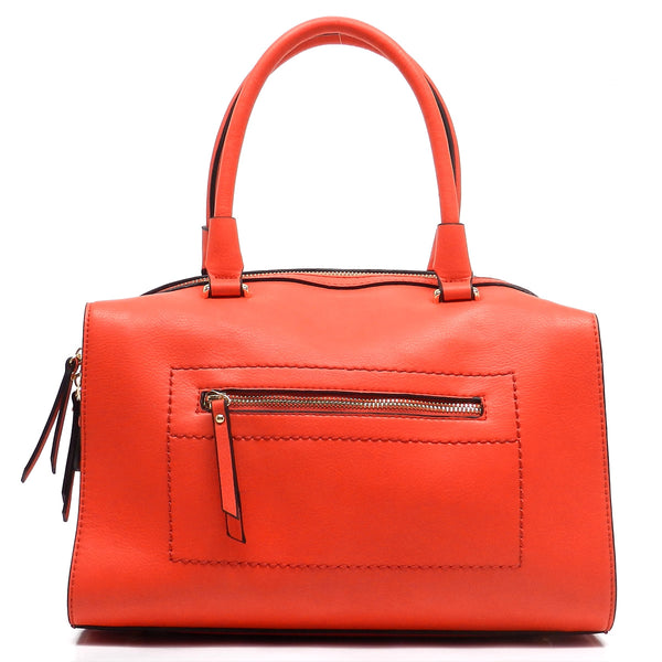 Front Zip Pocket Top Handle Tote [80901-RED]