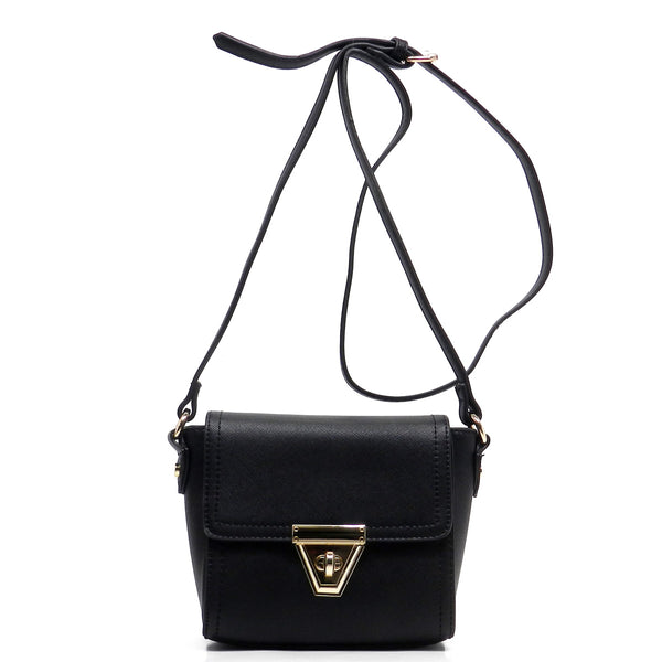Flap Over Twist Lock Cross Body Bag [80928-BLACK]