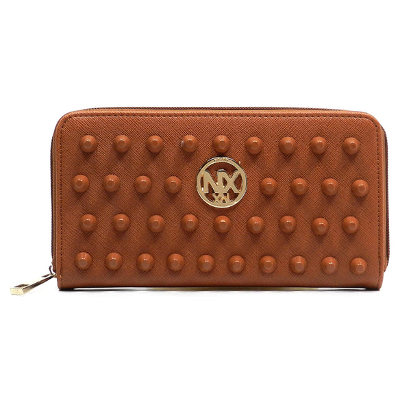 NX Colorstudded Zip Around Wallet [SA023D-TAN]