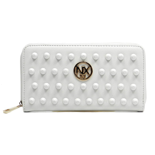 NX Colorstudded Zip Around Wallet [SA023D-WHITE]
