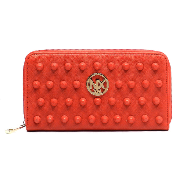 NX Colorstudded Zip Around Wallet [SA023D-RED]